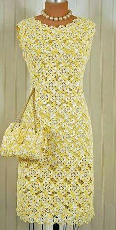 Discover thousands of images about Crochê Para Iniciantes – Como Fazer Crochê Passo a Passo Crochet Summer Dresses, Crochet Skirts, Crochet Blouse, Crochet Clothes, Crochet Lace, Knit Dress, Maxi Dress Wedding, Irish Lace, Crochet Fashion