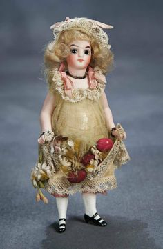 """German Mignonette —  6""""  All-Bisque Doll   for the French Market, c 1885    (669x1024)"""