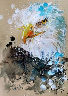 Eagle watercolour A3 original painting by tilentiart on Etsy
