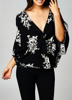 Black and White Floral Top - dressy and very comfy