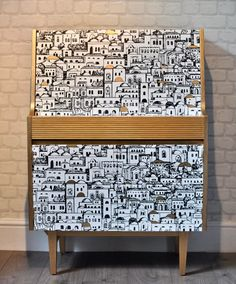 Upcycled Vintage Retro Mid Century Drinks Cabinet in a Fornasetti Print Decoupage, Retro Bar by ThriftysRetro on Etsy