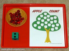 Apple fine motor Montessori activity: Part of a collection of apple-themed Montessori activity ideas for kids ages 2-5. || Gift of Curiosity