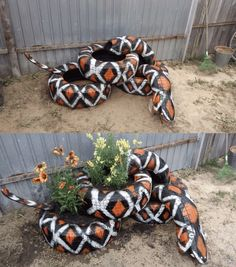 30 Impressive DIY Tire Planters Ideas for Your Garden To Amaze Everyone - Garten Idee Tire Garden, Garden Planters, Old Tire Planters, Diy Garden Projects, Garden Crafts, Art Projects, Tire Craft, Tyres Recycle, Upcycle