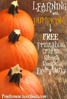 Pumpkins are so versatile! Not to mention that they are fun for kids to learn, play, eat and explore. It's no wonder there is an abundance of printables, cr