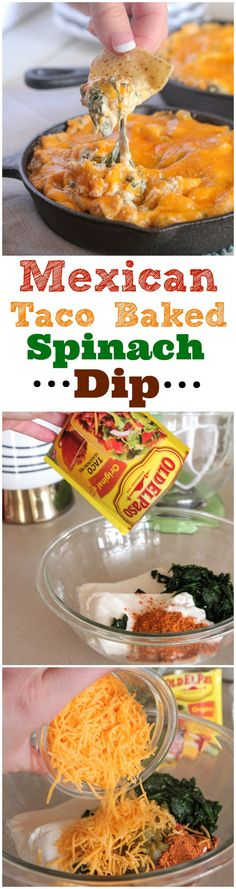 Mexican Taco Baked Spinach Dip!  Perfect party appetizer! #appetizer #recipe #partyfood Dip Recipes, Mexican Appetizer Recipes, Mexican Spinach Dip Recipe, Canned Spinach Recipes, Homemade Spinach Dip, Baked Spinach Dip, Appetizer Ideas, Yummy Recipes, Jalapeno Recipes