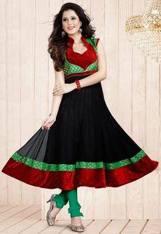 An enchanting Black & Green Color Designer Anarkali Suit featuring zari and velvet embellished bodice and border