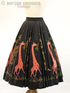 50s Giraffe Print Circle Skirt - sm