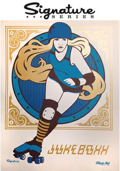 Juke Boxx screenprinted poster by Skate-Ink Derby Skates, Quad Skates, Roller Derby Girls, Roller Skating, Character Illustration, Illustrations Posters, Screen Printing, Cool Art, Pin Up