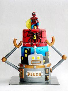 Spiderman taart cake