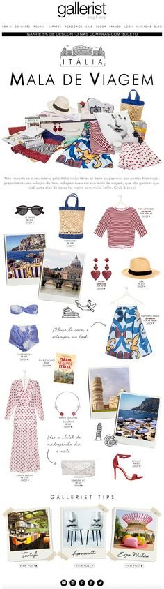 newsletter, layout, mala de viagem, fashion news, gallerist, itália, summer escape