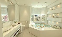 Banheiro da suíte máster, que possui banheira de hidromassagem.