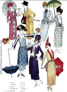 Dresses, skirts and blouses, Butterick patterns in Delineator magazine, July 1918, page 52.