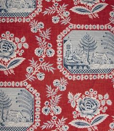 blue and white platter design on red background - inspired by this Red and Blue French Toile de Jouy Curtain Fabric Textiles, Textile Patterns, Print Patterns, French Fabric, Curtain Fabric, Fabric Wallpaper, Repeating Patterns, Chinoiserie, Fabric Design