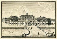 Christiansborg Slot fra Slotsholmen, København, tegnet af Johan Jacob Bruun  Frederik den Femtes Atlas bind 36 side 37