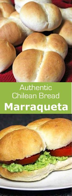 Marraqueta, also known as pan francés and pan batido is a traditional Chilean bread composed of a pair of attached soft rolls. Latin American Food, Latin Food, Chilean Recipes, Chilean Food, Chilean Bread Recipe, Naan, Around The World Food, Vegan Recipes, Cooking Recipes
