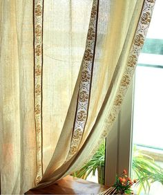 Shabby Chic British Rustic Beige Combined Hem Lace door qfunvalue