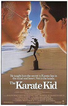"The Karate Kid is a 1984 American martial arts romantic drama film directed by John G. Avildsen and written by Robert Mark Kamen, starring Ralph Macchio, Noriyuki ""Pat"" Morita and Elisabeth Shue. Elisabeth Shue, 80s Movies, Drama Movies, Great Movies, Movies To Watch, Amazing Movies, Drama Film, 1980s Films, Series Movies"