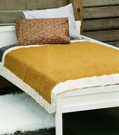 """Hand-Made Blanket - Bulky Curry with Contrast Frame About W 40"""" x L 48"""" (W 102 x L 123 cm) $550.00  50% Alpaca & 50% Wool  Yarn from Peru"""
