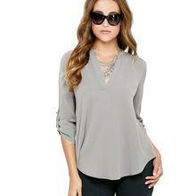 Blusas Women Blouses Plus size XXXL Chiffon Blouse Solid Casual V Neck Long Sleeve 2016 new Top Shirts Cheap-Clothes-China Body(China (Mainland))