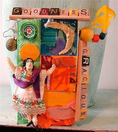 GOODNESS GRACIOUS Upcycled 3D Assemblage Collage FOLK ART mybonny