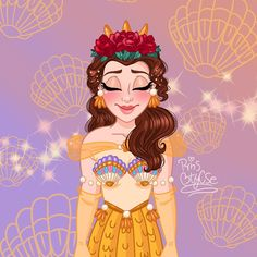 Emma Watson as Belle wearing a roses crown from Beauty and the Beast 2017 ⚘🌷🥀 Mickey Mouse Tattoos, Mickey Mouse Art, Disney Tattoos, Disney Princess Belle, Princess Art, Sailor Princess, Punk Princess, Mermaid Drawings, Disney Drawings