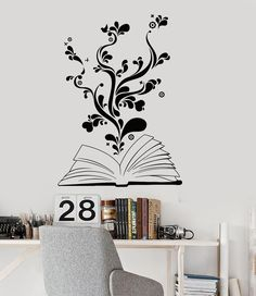 Vinyl Wall Decal Book Bookworm Library Bookstore School Stickers (ig2945)