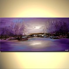 Original abstract art paintings by Osnat - purple forest on river bank