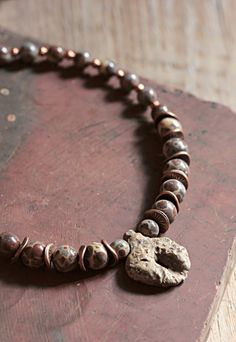 Holey stone mens choker  Ancient jewelry  OOAK  by FableBubble