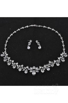 Latest Silver Cloud Cubic Zirconia Wedding Necklace and Earrings Jewelry JS16005 #wedding #jewelry #weddingessentials