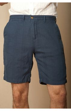 "INDIGO DOBBY BERMUDA TROUSER POCKET SHORT.  BLEECKER FIT - 9"" SHORT INSEAM"