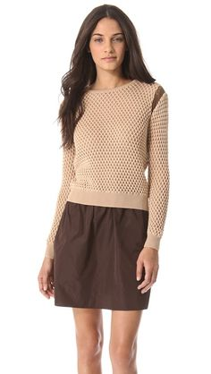 Carven Bicolor Cutout Sweater with sheer armhole detail and interesting stitch