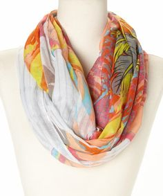 Take+a+look+at+the+Fuchsia+&+Orange+Feather+Infinity+Scarf+on+#zulily+today!