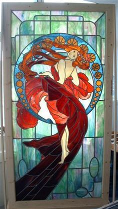 Mucha stained glass- AMAZING!!  If I ever start doing glasswork again, this is on the list! #StainedGlassMermaid