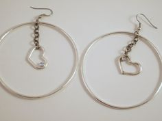 Recycled sterling silver hoop and dangling heart by CDSOdesigns, $110.00