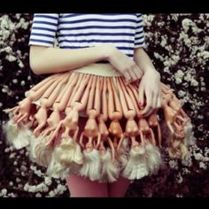 Creepy DIY skirt hahahahahhaha funny....so that's what happened to my barbies