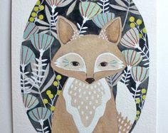 Fox ilustración pintura, arte acuarela, imprimir archivo - poco zorro Leo