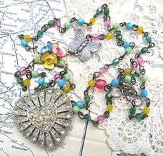 TRISH necklace flower heart pendant assemblage by lilyofthevally