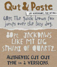 NOT FREE Qut&Paste: Paper Collage Cutout Typeface - Decorative Fonts