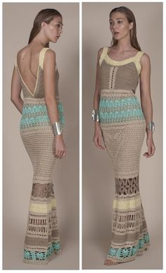 Agostina Bianchi multicolor long crochet dress