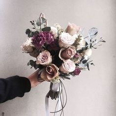 Pink and purple bouquet My Flower, Fresh Flowers, Beautiful Flowers, Wedding Bouquets, Wedding Flowers, Collateral Beauty, No Rain, Planting Flowers, Floral Arrangements