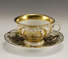 19th Century KPM Porcelain Footed Cup and Saucer Raised Detail Gold Gilt   eBay