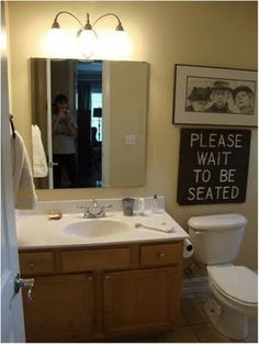 The Guest Bath: Love the sign over the toilet . . . Can be a green project by using reclaimed boards if you have them, spare paints would also help in keeping this one a recycle project.  Very nice over the toilet, home decor for the bathroom . . . this would suit rustic, country, eclectic tastes!