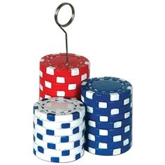 Party Supplies | Casino Decorations | Poker Chips Decoration...What would a casino be without poker? If you plan on throwing a great casino themed party, this Poker Chips Photo/Balloon Holder is a must have! Each holder has three differently colored poker chips with a metal wire on top. Place a photo between the wires or tie balloons down to make your party even better.