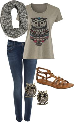 A fashion look from March 2013 featuring owl shirt, Miss Selfridge and gladiator sandals. Browse and shop related looks. Cute Fashion, Teen Fashion, Fashion Outfits, Womens Fashion, Look 2015, Spring Outfits, What To Wear, Style Me, Autumn Fashion