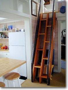 Alternating-step stairs save about 14 linear feet of space.