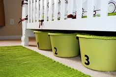 Bins to slide under the crib/bed - we should do 3 for each kid: jammies; kids' bed linens; and personal property (toys that are just theirs and not for all to share)