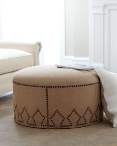 Shop nailhead trim handcrafted ottoman at Horchow, and browse our fantastic selection of luxury home furnishings, elegant decor, gifts & more. Burlap Ottoman, Ottoman Footstool, Round Ottoman, Chair And Ottoman, Ottomans, Furniture Styles, New Furniture, Living Room Furniture, Furniture Design