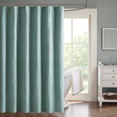 To update your master bath, add the Hayden Chevron Jacquard Shower Curtain. The charcoal grey base color provides the perfect background for the off white chevron pattern that is tighltly woven throughout this curtain.