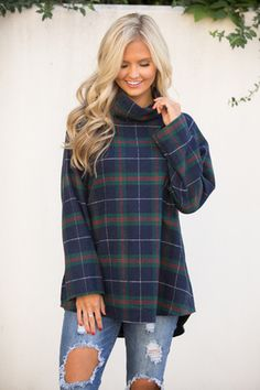 Could Stay Here For A While Plaid Tunic