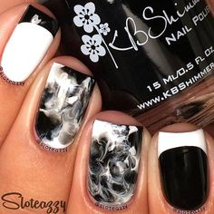 French Manicure and reverse French manicure with Black and White marble smoosh design Free Hand Nail Design